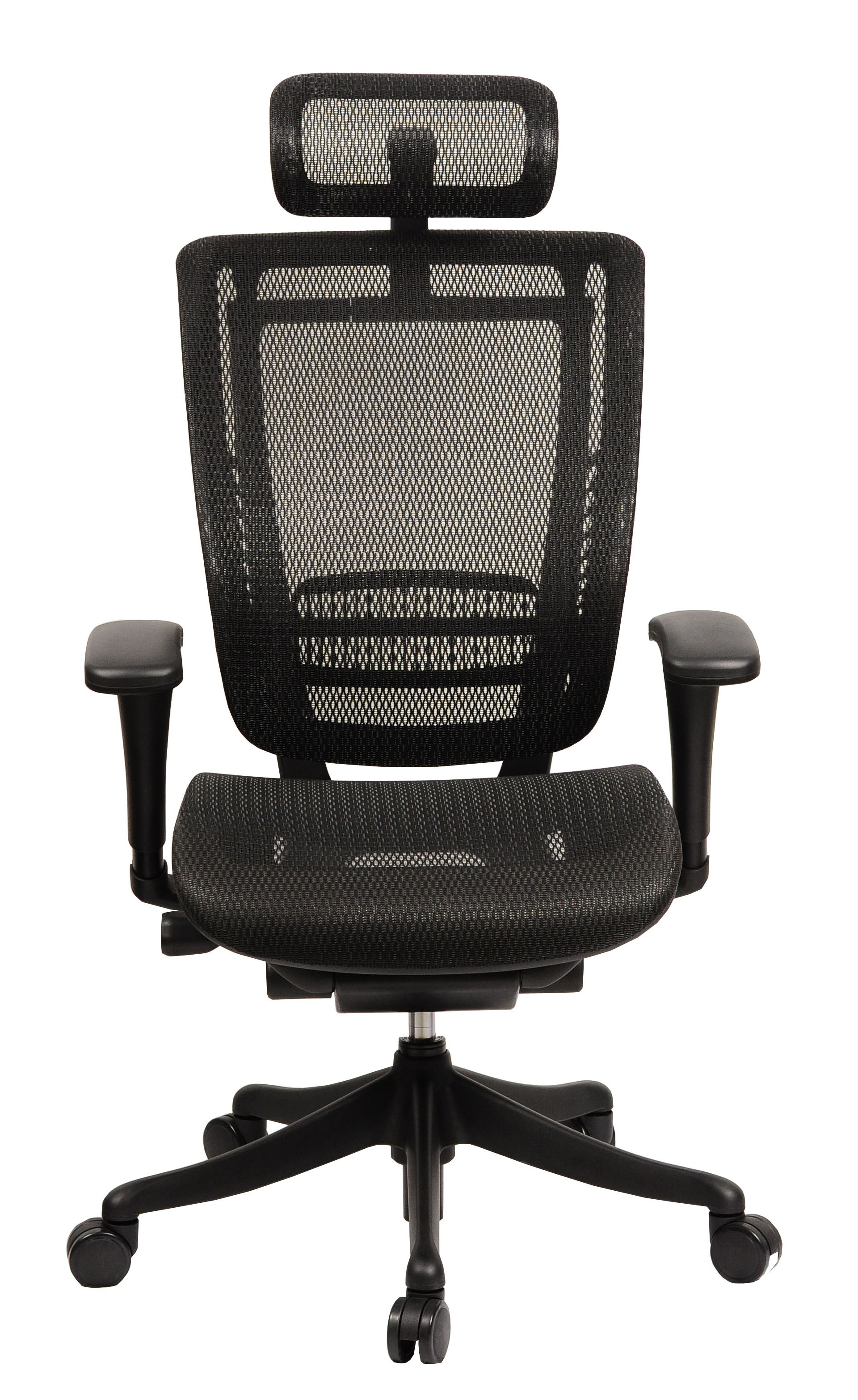 GM Seating Enklave Black Mesh Executive Hi Swivel Chair with Headrest, Black Frame & Base
