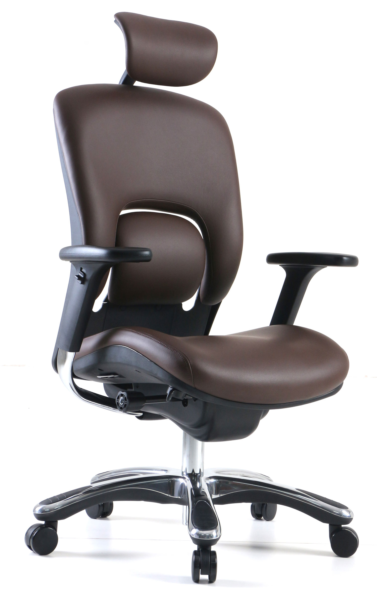 GM Seating Ergolux Genuine Leather Executive Hi Swivel Chair Chrome Base with Headrest, Brown