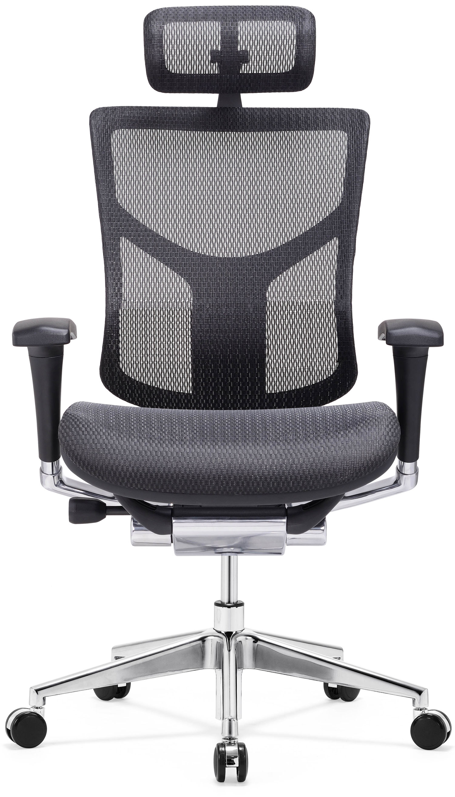 GM Seating Dreem XL Luxury Mesh Series Executive Hi Swivel Chair Chrome Base with Headrest, Black, Seat Slider