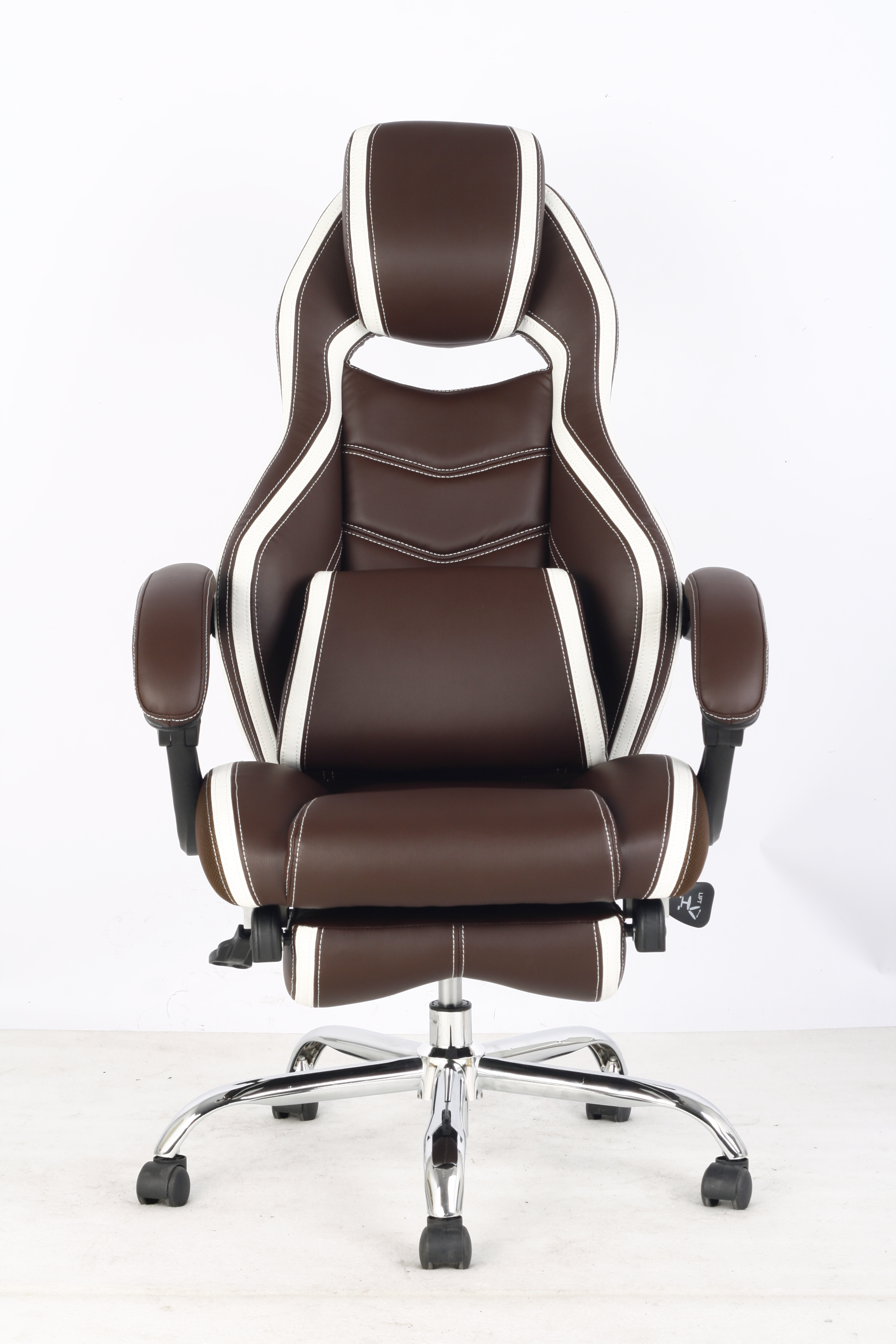 GM Seating Racer Reclining Chair Brown and White PU Chrome Base