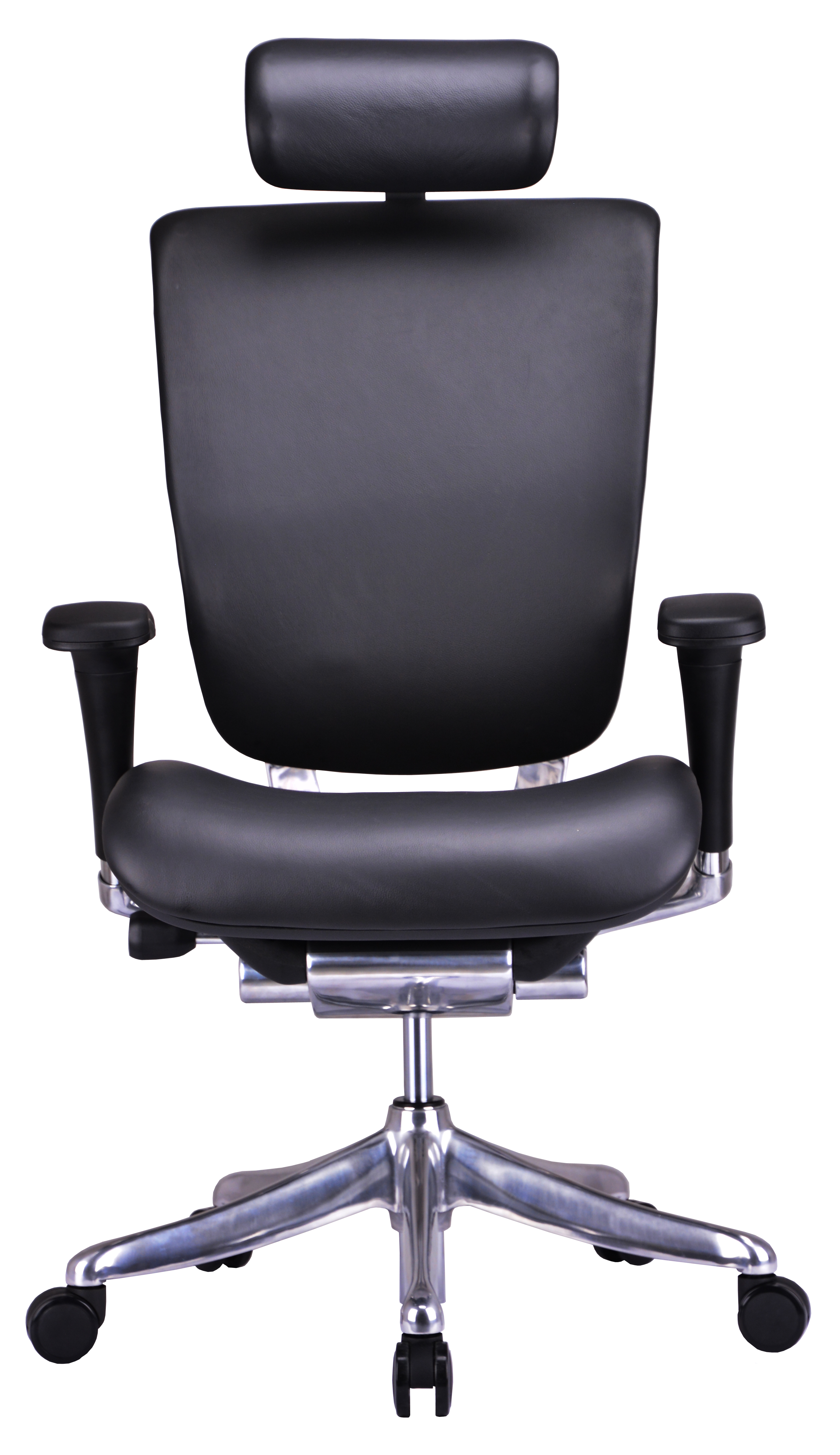 GM Seating Enklave Leather Executive Hi Swivel Chair Chrome Base with Headrest, Genuine (Black Leather Chrome Frame)