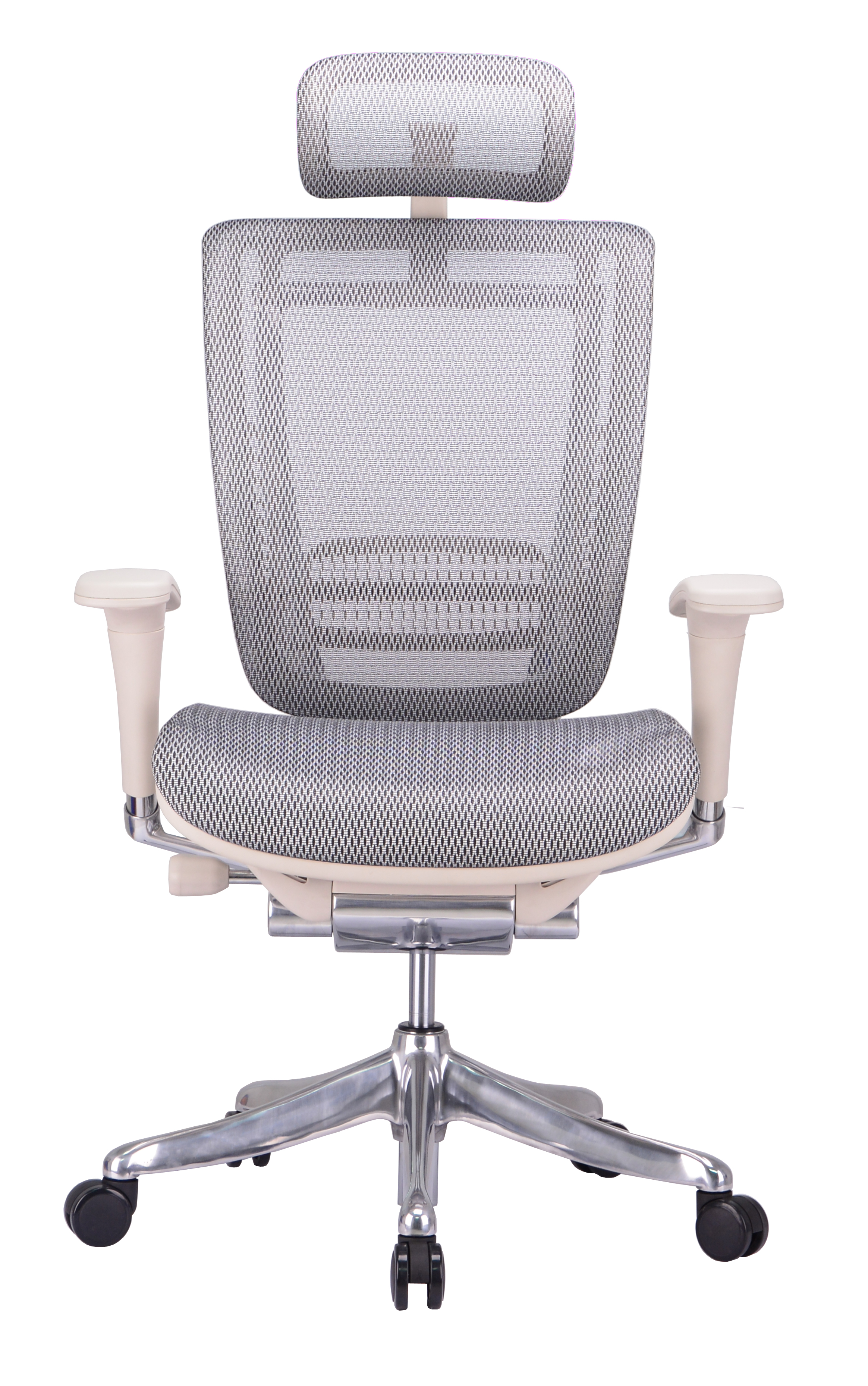 GM Seating Enklave  XL Gray Mesh Executive Hi Swivel Chair Chrome Base with Headrest, Grey Mesh Grey Frame