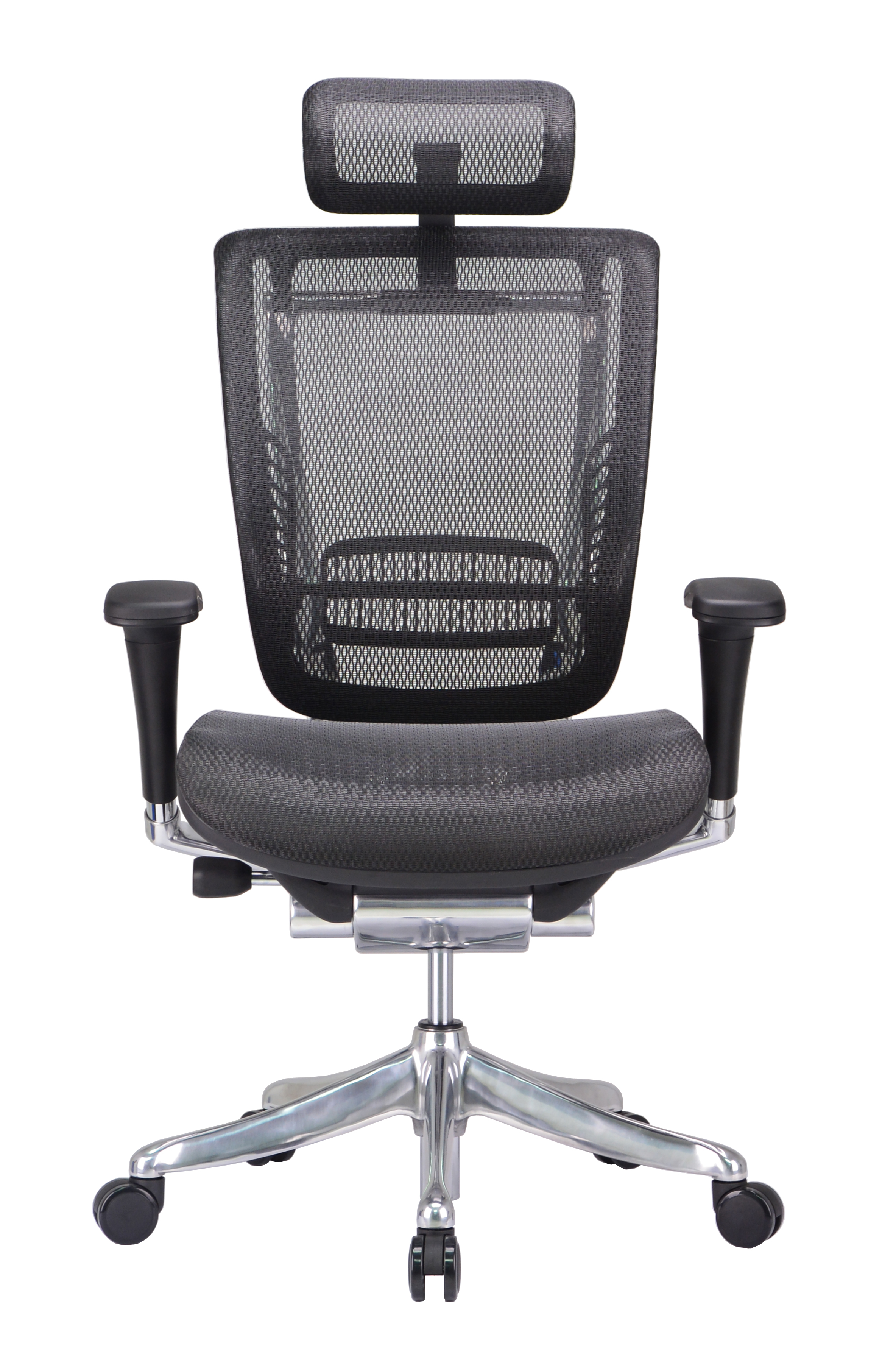GM Seating Enklave XL Mesh Executive Hi Swivel Chair Chrome Base with Headrest, Black